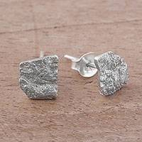 Sterling silver stud earrings, 'Rocky Texture' - Handcrafted Sterling Silver Stud Earrings from Peru