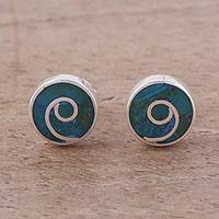 Malachite stud earrings, 'Swirl Chic' - Malachite and Silver Swirl Motif Stud Earrings from Peru