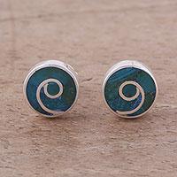Malachite stud earrings, 'Swirl Chic' - Malachite and Silver Swirl Motif Stud Earrings from Peru