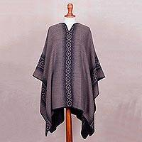 Reversible alpaca blend poncho, 'Chakanas in Grey and Taupe' - Alpaca Blend Reversible Black and Taupe Poncho