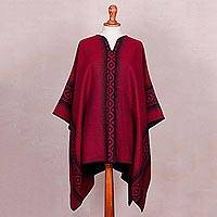 Reversible alpaca blend poncho, 'Chakanas in Red and Black' - Reversible Black and Red Alpaca Blend Poncho