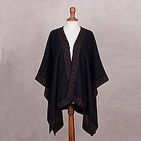 Reversible alpaca blend ruana cape, 'Chakanas' - Reversible Taupe and Dark Grey Alpaca Blend Ruana Cape