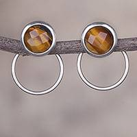 Tiger's eye drop earrings, 'Sweet Rings' - Tiger's Eye and Sterling Silver Drop Earrings from Peru