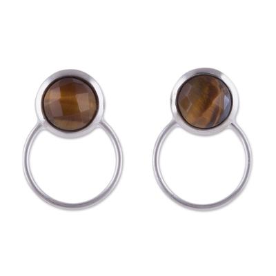 Tiger's eye drop earrings, 'Sweet Rings' - Tiger's Eye and Sterling Silver Drop Earrings from Peru