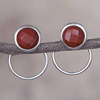 Jasper drop earrings, 'Sweet Rings' - Natural Jasper and Sterling Silver Drop Earrings from Peru