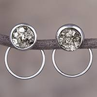 Pyrite drop earrings, 'Sweet Rings' - Sterling Silver and Natural Pyrite Drop Earrings from Peru