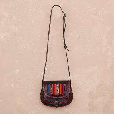 Wool accent leather sling bag, 'Trail Companion' - Handcrafted Wool Accent Leather Sling from Peru