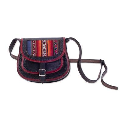Handcrafted Wool Accent Leather Sling from Peru