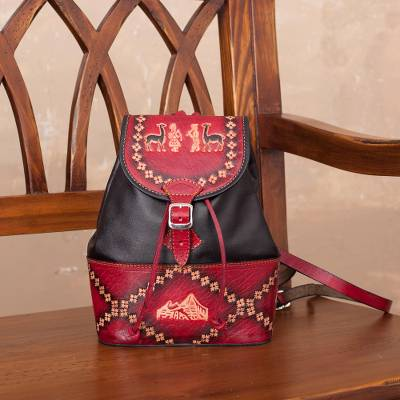 Leather backpack, 'Ancient Elegance' - Handcrafted Crimson and Black Leather Backpack from Peru