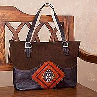 Wool accent leather tote, 'Cosmovision' - Handcrafted Wool Accent Leather Tote in Brown from Peru