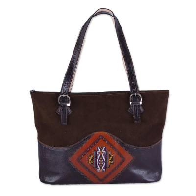 Handcrafted Wool Accent Leather Tote in Brown from Peru