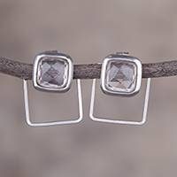 Quartz drop earrings, 'Sweet Squares' - Natural Square Quartz and Silver Drop Earrings from Peru