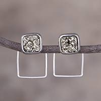 Sterling silver drop earrings, 'Sweet Squares' - Sterling Silver and Pyrite Square Drop Earrings from Peru