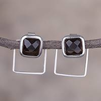 Smoky quartz drop earrings, 'Sweet Squares' - Square Smoky Quartz and Silver Drop Earrings from Peru