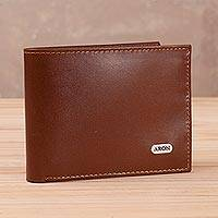 Men's leather wallet, 'Dapper Chap' - Sepia Leather Men's Wallet from Peru