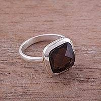 Smoky quartz cocktail ring, 'Beautiful Soul' - Square Smoky Quartz and Silver Cocktail Ring from Peru