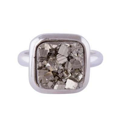 Pyrite cocktail ring, 'Beautiful Soul' - Square Sterling Silver and Pyrite Cocktail Ring from Peru