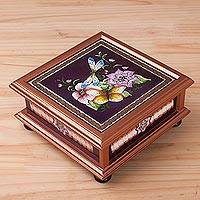 Reverse-painted glass decorative box, 'Sweet Refuge in Brown' - Floral Reverse-Painted Glass Decorative Box in Brown
