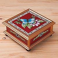 Reverse-painted glass decorative box, 'Butterfly World in Red' - Butterfly Reverse-Painted Glass Decorative Box in Red