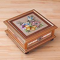 Reverse-painted glass decorative box, 'Sweet Refuge' - Handcrafted Reverse-Painted Glass Decorative Box from Peru