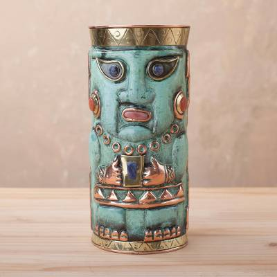 Gemstone-accented bronze and copper decorative vase, Andean Warrior