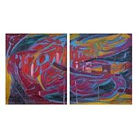 'Northern Lights' (diptych, 2015) - Signed Expressionist Multicolored Diptych Painting from Peru