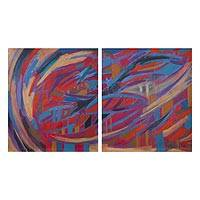 'Colorful Pampas in the Andes' (diptych, 2016) - Signed Expressionist Colorful Diptych Painting from Peru
