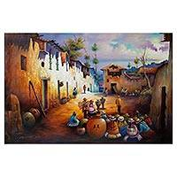 'Splendor in Anta' - Signed Realist Painting of a Market Scene from Peru