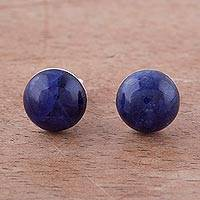 Sodalite stud earrings, 'Blue Domes' - Sodalite and Sterling Silver Stud Earrings from Peru