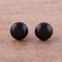 Obsidian stud earrings, 'Black Domes' - Obsidian and Sterling Silver Stud Earrings from Peru