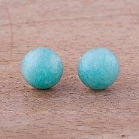 Amazonite stud earrings, 'Sky Blue Domes' - Amazonite and Sterling Silver Stud Earrings from Peru