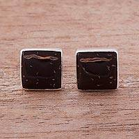 Coconut shell stud earrings, 'Distant Mountainside' - Sterling Silver and Coconut Shell Stud Earrings from Peru