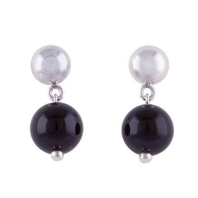 Obsidian and Sterling Silver Dangle Earrings from Peru