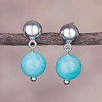Amazonite dangle earrings, 'Elysian Spheres' - Amazonite and Sterling Silver Dangle Earrings from Peru