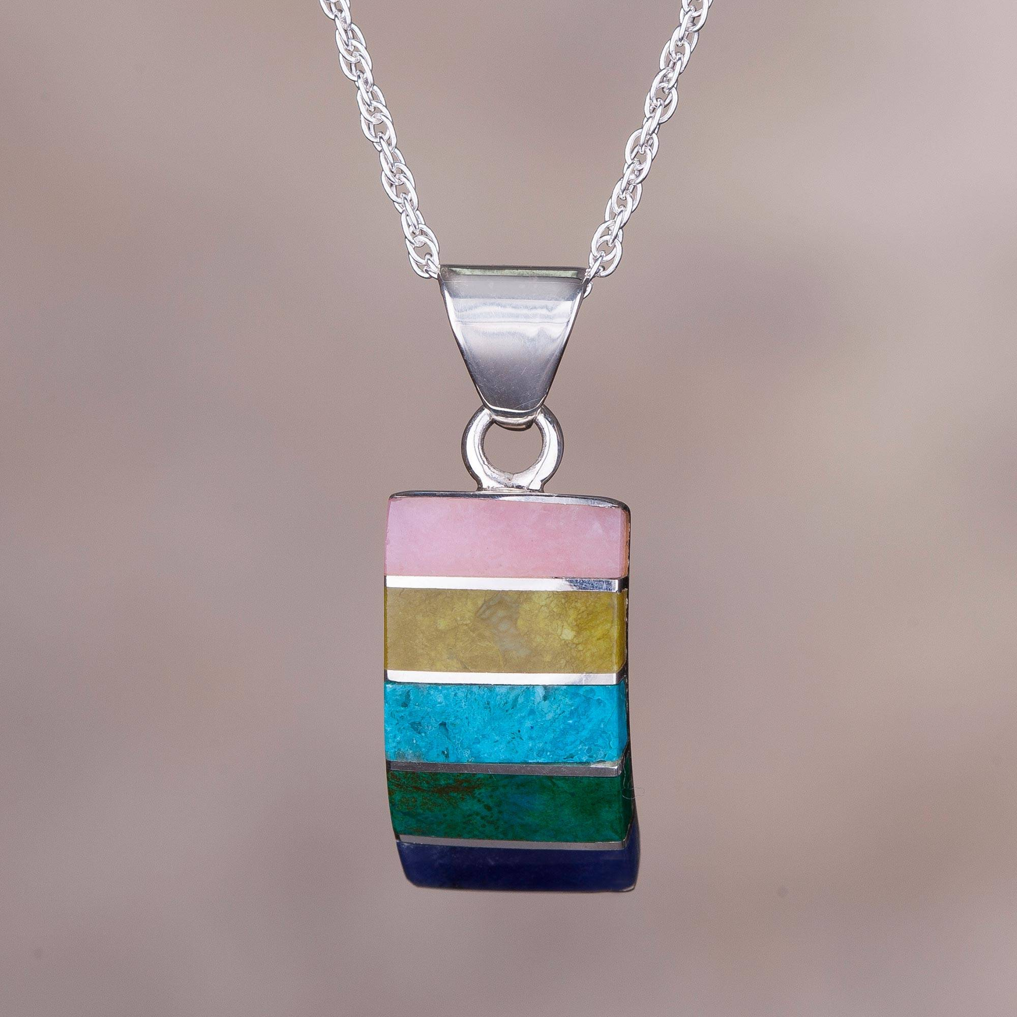 Oceanic Colors Colorful Multi-Gemstone Pendant Necklace from Peru chrysocolla and sodalite Rose quartz serpentine Sterling silver The Perfect Necklace