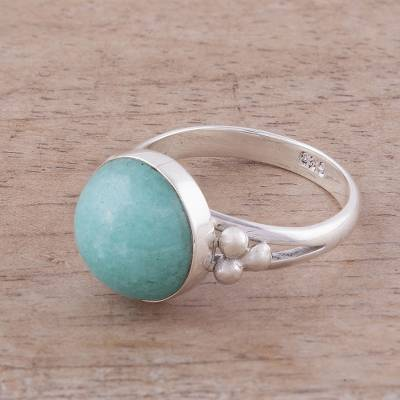Amazonite cocktail ring, 'Sky Blue Dome' - Amazonite and Sterling Silver Cocktail Ring from Peru