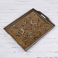 Reverse painted glass tray, 'Countryside Garden' - Reverse Painted Glass Tray with Bird and Floral Motifs