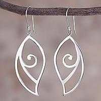 Sterling silver dangle earrings, 'Fantastic Leaves' - High-Polish Sterling Silver Leaf Dangle Earrings from Peru