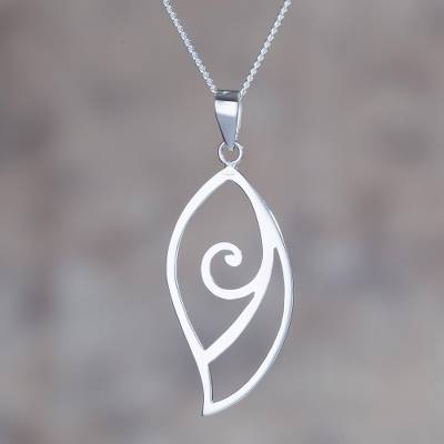 Sterling silver pendant necklace, 'Fantastic Leaf' - High-Polish Sterling Silver Leaf Pendant Necklace from Peru