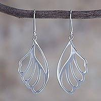 Sterling silver dangle earrings, 'Wings of a Fairy' - High-Polish Sterling Silver Feather Earrings from Peru