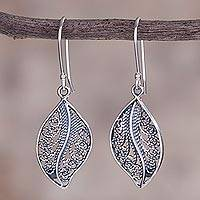 Sterling silver filigree dangle earrings, 'Spiraling Veins' - Sterling Silver Filigree Leaf Dangle Earrings from Peru