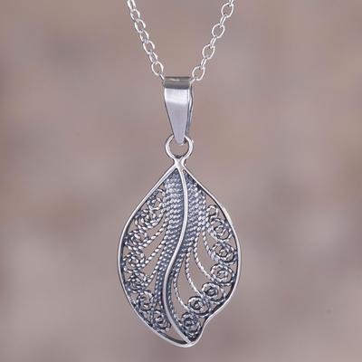 Sterling silver filigree leaf pendant necklace from peru spiraling sterling silver filigree pendant necklace spiraling veins sterling silver filigree leaf pendant mozeypictures Choice Image