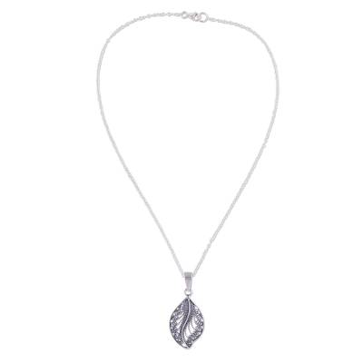 Sterling Silver Filigree Leaf Pendant Necklace from Peru