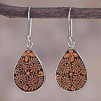 Pumpkin shell dangle earrings, 'Enchanting Flowers' - Sterling Silver and Pumpkin Shell Floral Earrings from Peru
