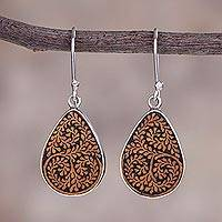 Pumpkin shell dangle earrings, 'Enchanted Copse' - Leafy Sterling Silver and Pumpkin Shell Earrings from Peru