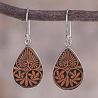 Pumpkin shell dangle earrings, 'Infinite Cosmos' - Sterling Silver and Pumpkin Shell Dangle Earrings from Peru