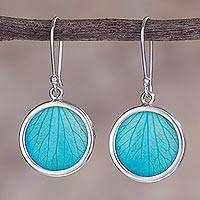 Sterling silver dangle earrings, 'Atlantis Leaves' - Sterling Silver and Natural Leaf Dangle Earrings from Peru