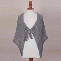 100% alpaca short capelet, 'Soft Grey Clouds' - Grey Andean Alpaca Knitted Short Capelet with a Tie Neck
