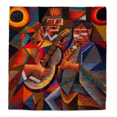 Wool tapestry, 'Music of the Andes' - Handwoven Wool Tapestry of Andean Musicians from Peru