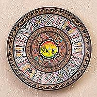 Cuzco plate, 'Sunset' - Decorative Ceramic Cuzco Plate